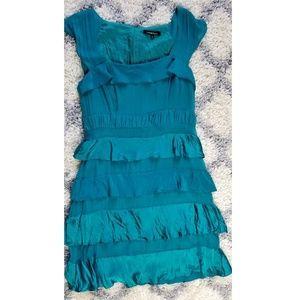 nanette lepore green tiered silk dress